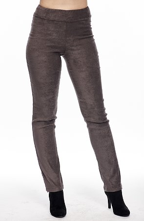 Elegantné šedé semišové dlhé dámske nohavice 378