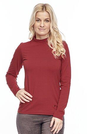 Bavlnené červené dámske tričko so stojačikom 75