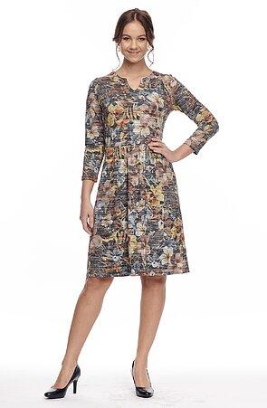 Farebné dámske šaty s 3/4 rukávmi 7039