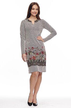 Priliehavé dámske šaty s kvetinovou bordúrou 7077