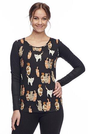 Dlhšia čierna dámska blúzka s potlačou mačiek 7743