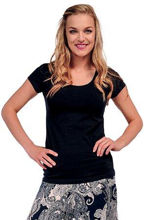 Jednoduché bavlnené čierne dámske tričko 82