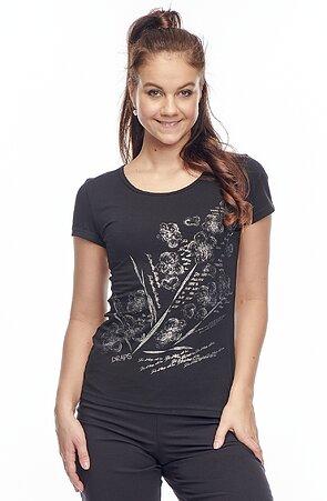 Bavlnené čierne dámske tričko s potlačou 24