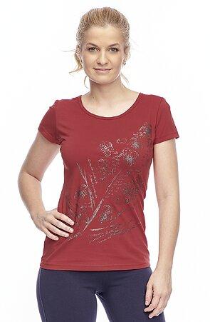Bavlnené tmavo červené dámske tričko s potlačou 24