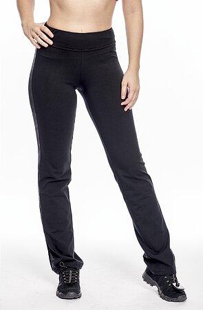 Úzke čierne dámske nohavice s pruhmi z kože 376