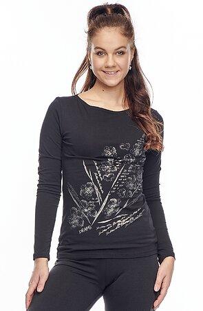 Bavlnené čierne dámske tričko s potlačou 62