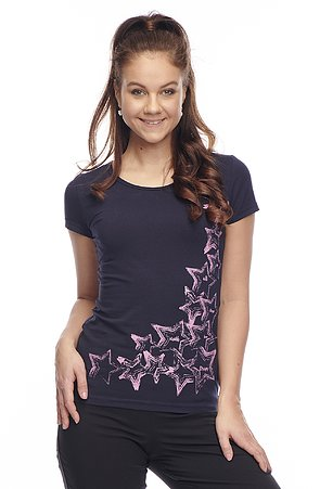Bavlnené tmavomodré tričko s krátkym rukávom 43