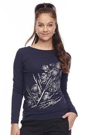 Bavlnené tmavo modré dámske tričko s potlačou 62