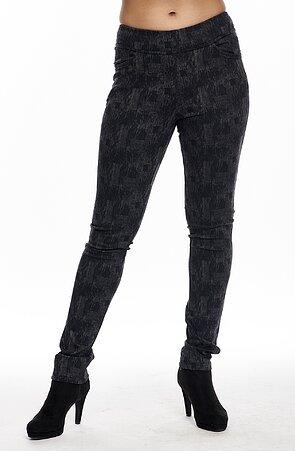 Čierne žíhané elegantné dlhé dámske nohavice 347