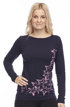 Bavlnené tmavomodré tričko s dlhým rukávom 56