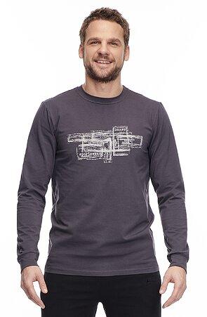Bavlnené šedé pánske tričko s dlhými rukávmi a potlačou 455