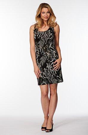 Čierne dámske šaty s bielymi písmenami 7182