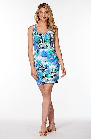 Tyrkysové dámske šaty so vzorom 7182