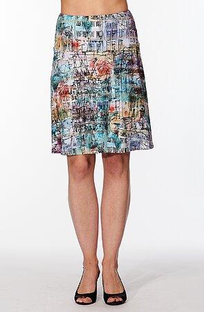 Letná širšia farebná dámska sukňa s domami 133