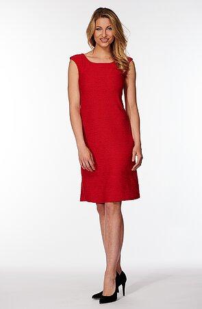 Elegantné červené dámske šaty so vzorom 7012