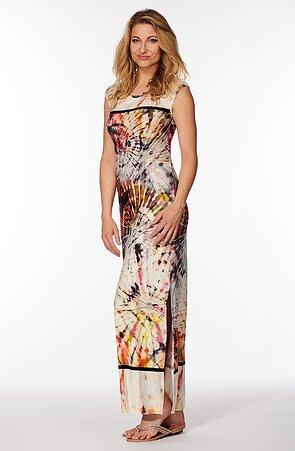 Dlhé farebné dámske šaty s rozparkom 7067