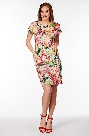 Kimonové farebné dámske šaty s pivonkami 7091