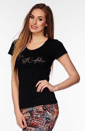 Bavlnené čierne dámske tričko s nápisom 40