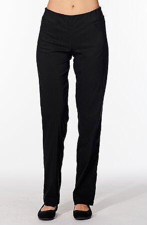 Dlhé rovné čierne dámske nohavice 375