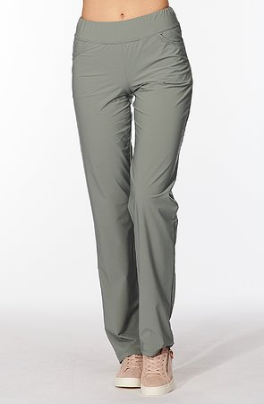 Letné šedozelené dlhé dámske nohavice s vreckami 303