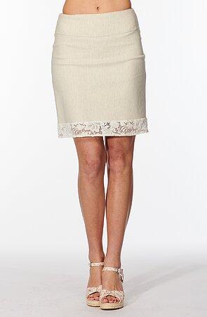 Béžová dámská sukně s krajkou 148