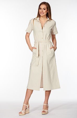 Košeľové béžové dámske šaty s vreckami 7159