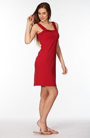Bavlnené červené dámske šaty bez rukávov s čipkou 7061