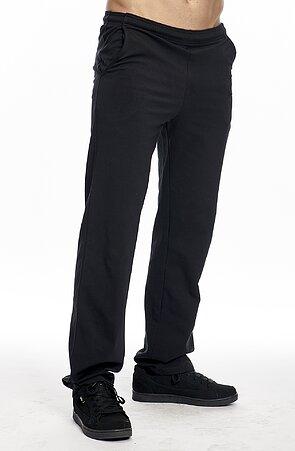 Užšie bavlnené čierne pánske nohavice bez potlače 417