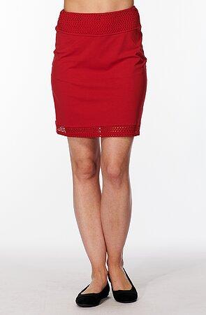 Rovná červená dámska sukňa s čipkou 169
