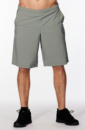 Funkčné šedozelené pánske šortky s potlačou 433
