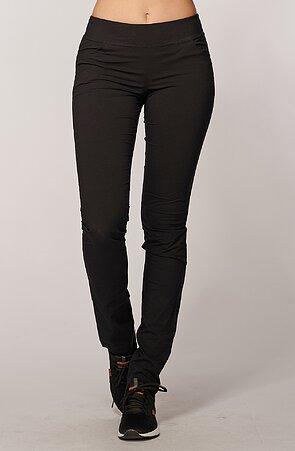 Úzke funkčné čierne dámske nohavice s vreckami 368 hon