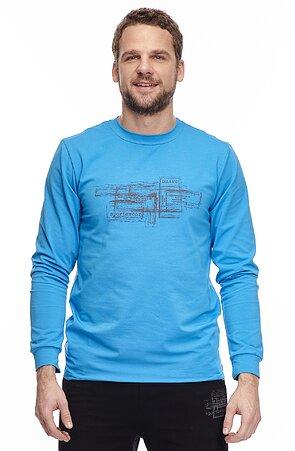 Bavlnené modré pánske tričko s dlhými rukávmi a potlačou 455