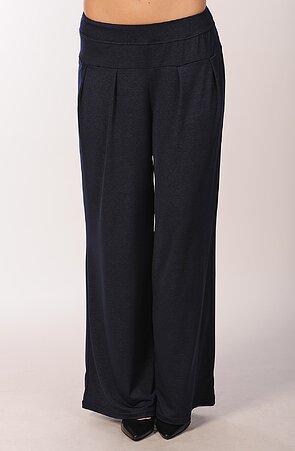 Široké tmavo modré dámske nohavice 834