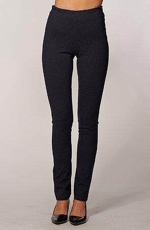 Elegantné tmavo modré dámske nohavice s drobnými krížikmi 366
