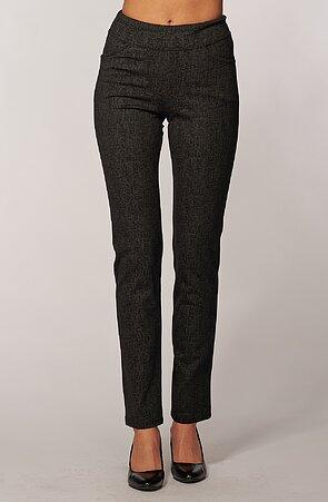Elegantné rovné šedé čiarkované dámske nohavice 385