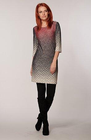 Kratšie šedé žíhané dámske šaty s 3/4 rukávmi 7079