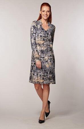 Elegantné šedé dámske šaty s bielymi domami 7119