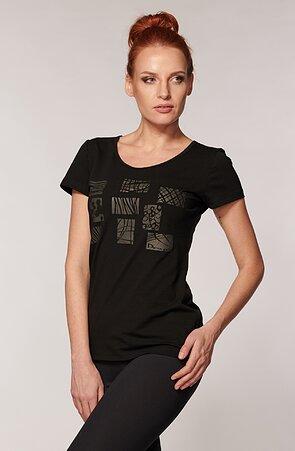 Bavlnené čierne dámske tričko s potlačou 33