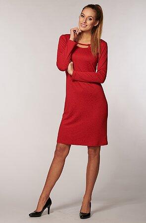 Elegantné červené dámske šaty s ozdobným výstrihom 7033