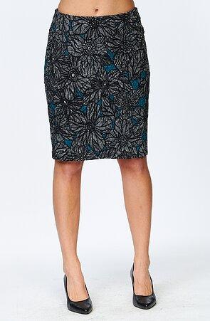 Dlhšia kvetovaná šedomodrá dámska sukňa s rozparkom 815
