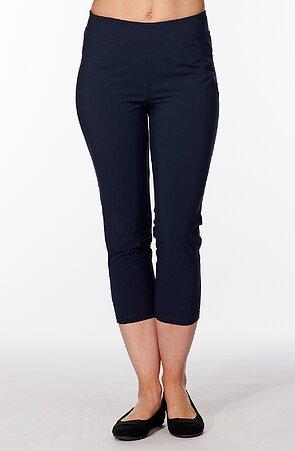 Funkčné tmavo modré dámske 7/8 nohavice s vreckami 246