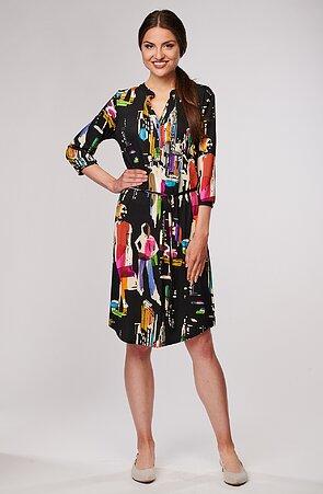 Černé dámské šaty s barevným vzorem a légou 7095