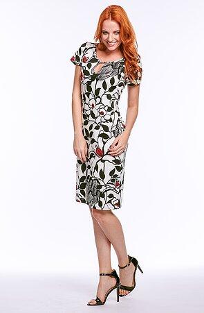 Elegantné bieločiernej dámske šaty s kvetmi 7025