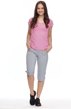 Funkčné šedé dámske 3/4 nohavice s rozparkom 296