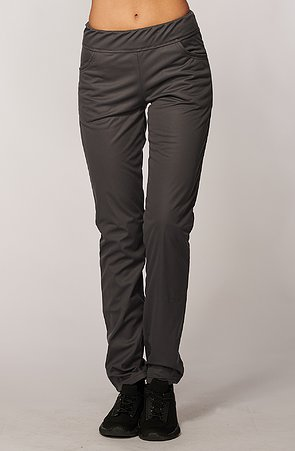 Úzke softshellové šedé dámske nohavice s vreckami 937