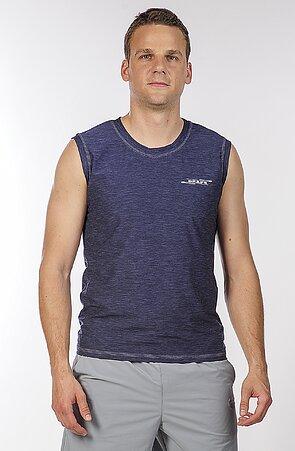 Športové tmavo modré pánske tričko bez rukávov 464