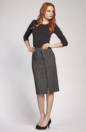 Dlhšia čiernobiela dámska sukňa s rozparkom 155