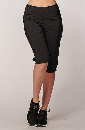 Funkčné čierné dámske 3/4 nohavice s vreckami na zips 289