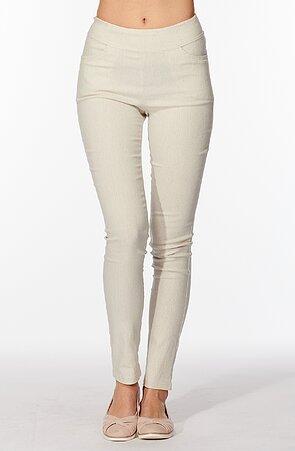 Elegantné úzke béžové dlhé dámske nohavice 347