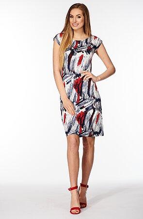 Elegantné farebné dámske šaty so spadnutými rukávmi 7117
